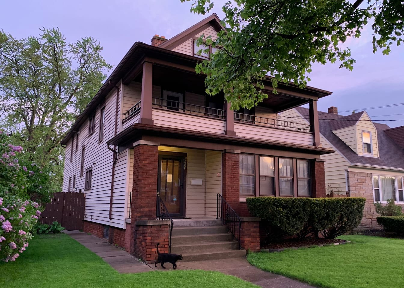 The rental is on the bottom floor of this house that sits in a great neighborhood.