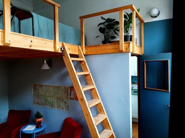 Pièce de vie et chambre en mezzanine, porte vers couloir intérieur, cuisine en arrière plan.