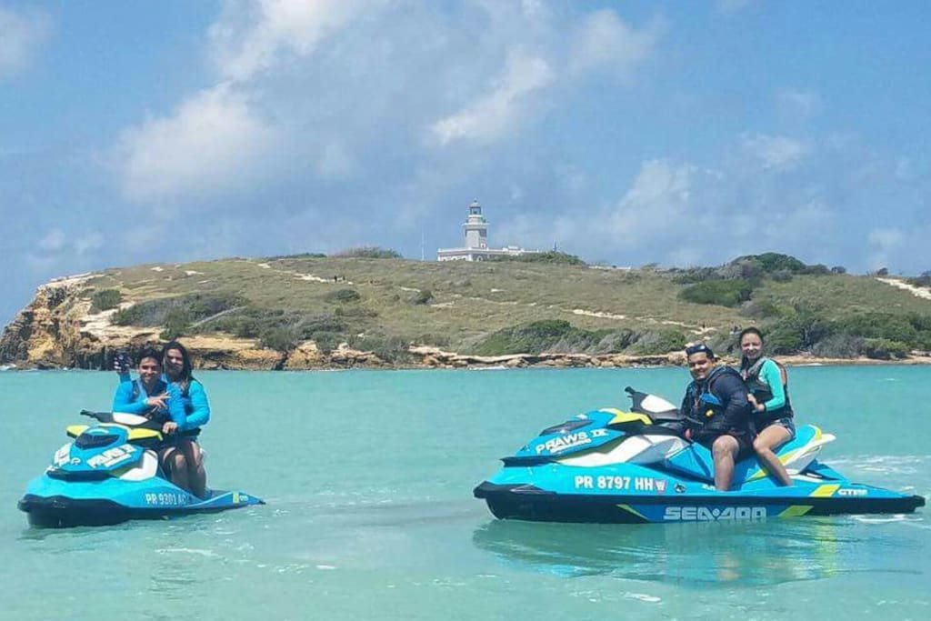Jet Ski Tour near El Faro Light House of Cabo Rojo.  Awsome!! Things to do while staying at our Charming Apartments :)
