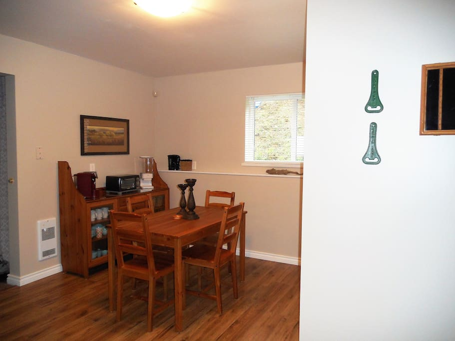 Spacious eating area with coffee maker, hot water, toaster oven. Includes continental breakfast (toast, cereal/milk, fruit, coffee/tea, beverages & yogurt