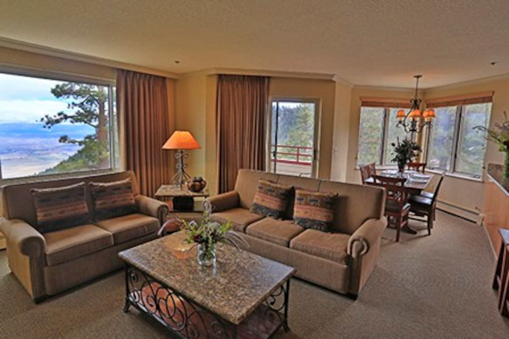 Large living room, dining room, balcony and kitchen, as well as in-suite laundry!