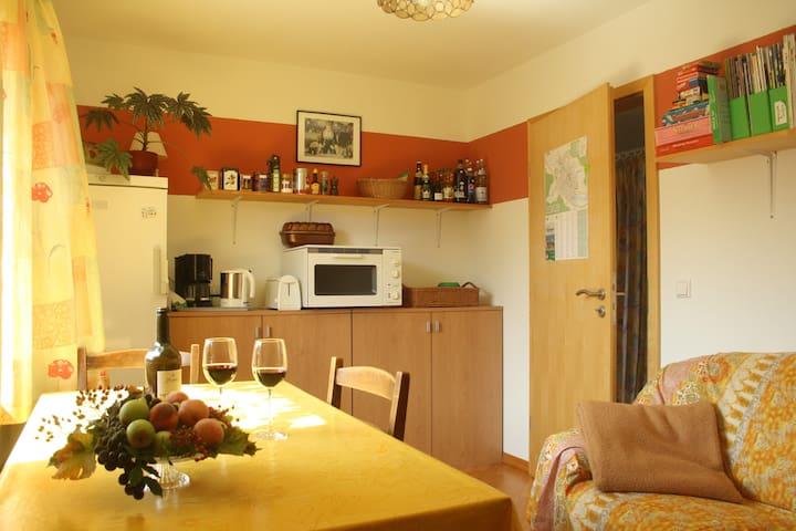 Helles Doppelzimmer u. Wohnzimmer mit Teeküche