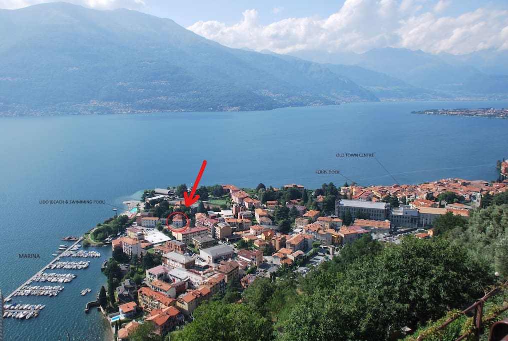 the town of Bellano and the location of the house