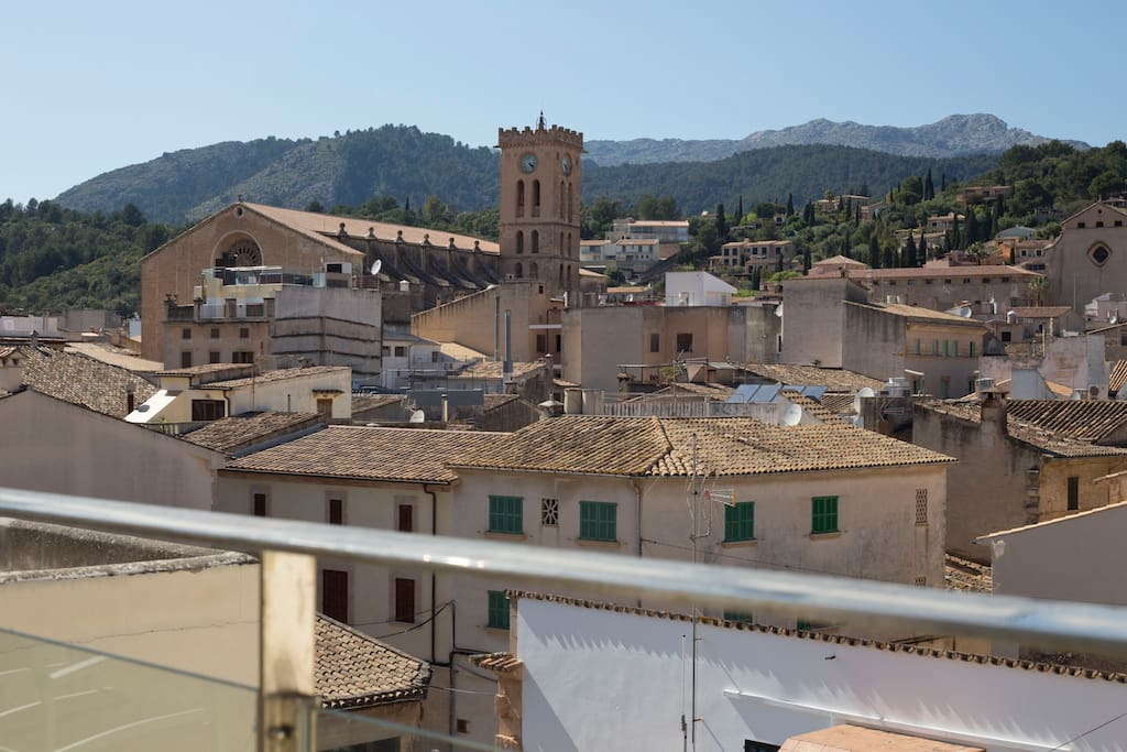 View from the roof terrace over Pollensa old town and Tramuntana montains