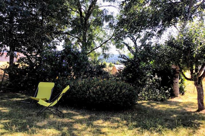 coin repos à l'ombre des arbres