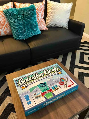 "Lots of board games,  puzzles, magazines and books, even ""GalvestonOpoly""!"