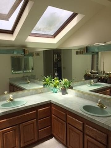 Bathroom with dual sink and sky lights
