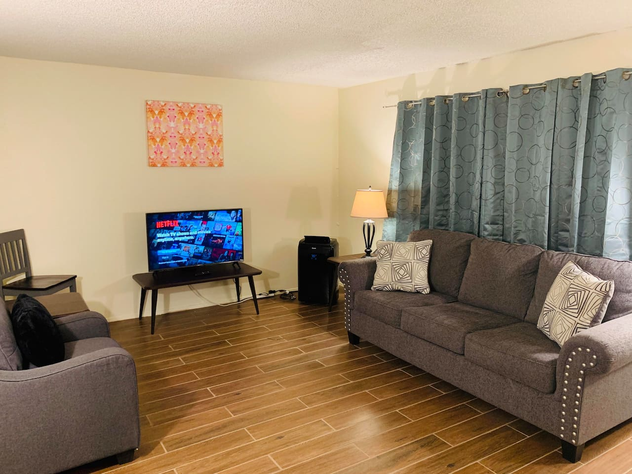 Living Room with 47 inch Smart TV and Pull Out Sleeper Sofa