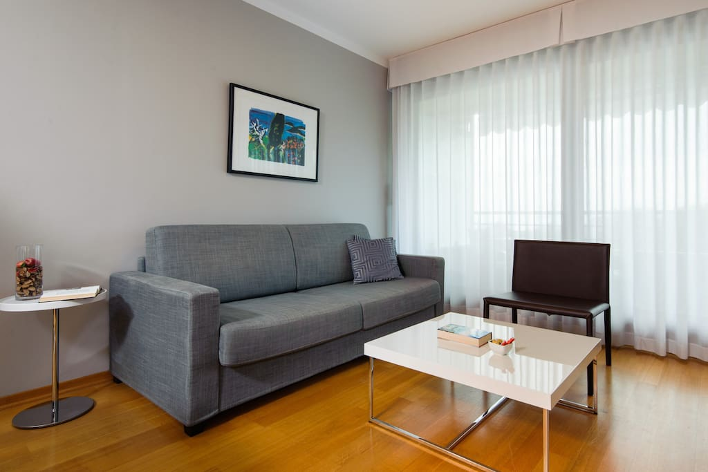 Comfortable double sofa with telephone (external calls and hotel services)