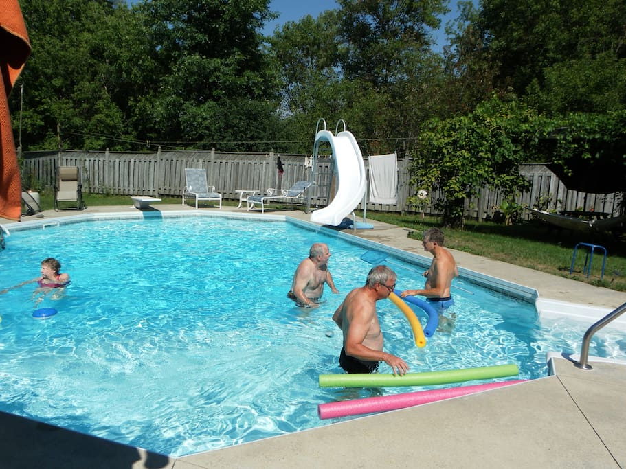 Guests enjoying the pool
