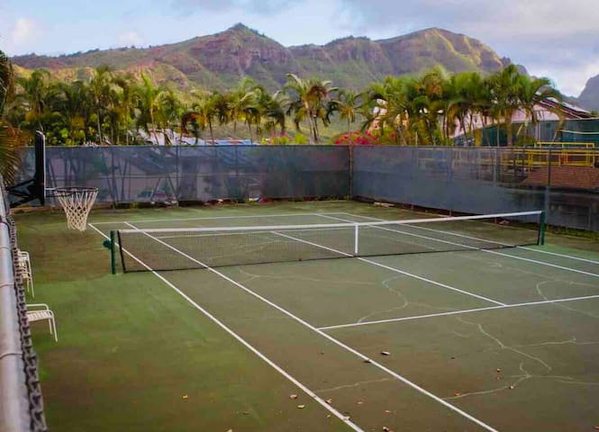 How about a game of tennis on an island?