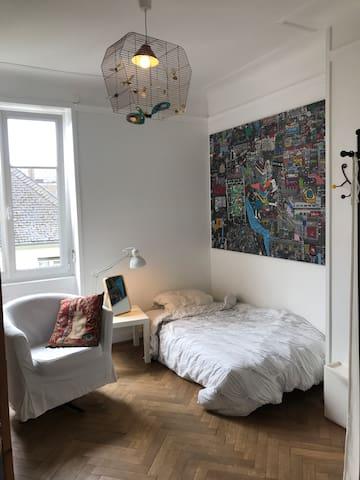 Grande chambre dans appartement de caractère