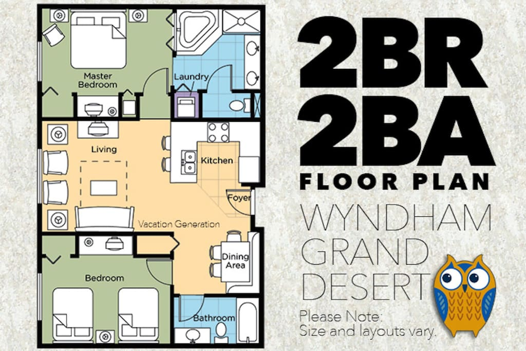 Wyndham grand desert 2 bedroom deluxe condo for Wyndham grand desert room floor plans