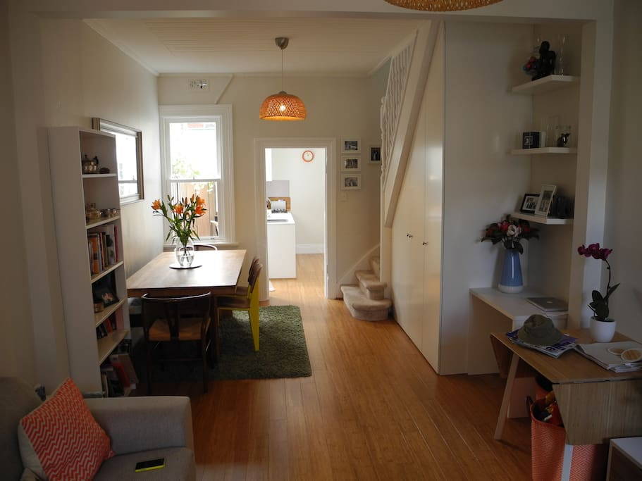 Bright and airy open plan living, dining, workspace.