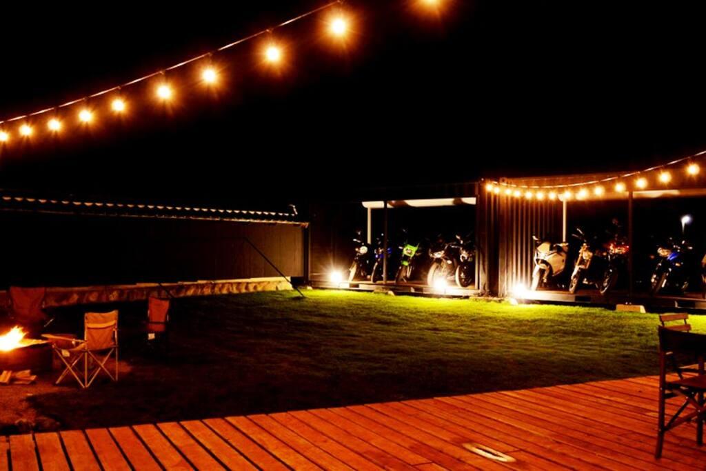 Garden space & Motorcycle exclusive garage.