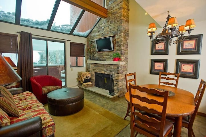 Return to the suite after a day on the slopes, and warm your toes in front of the wood burning fireplace.