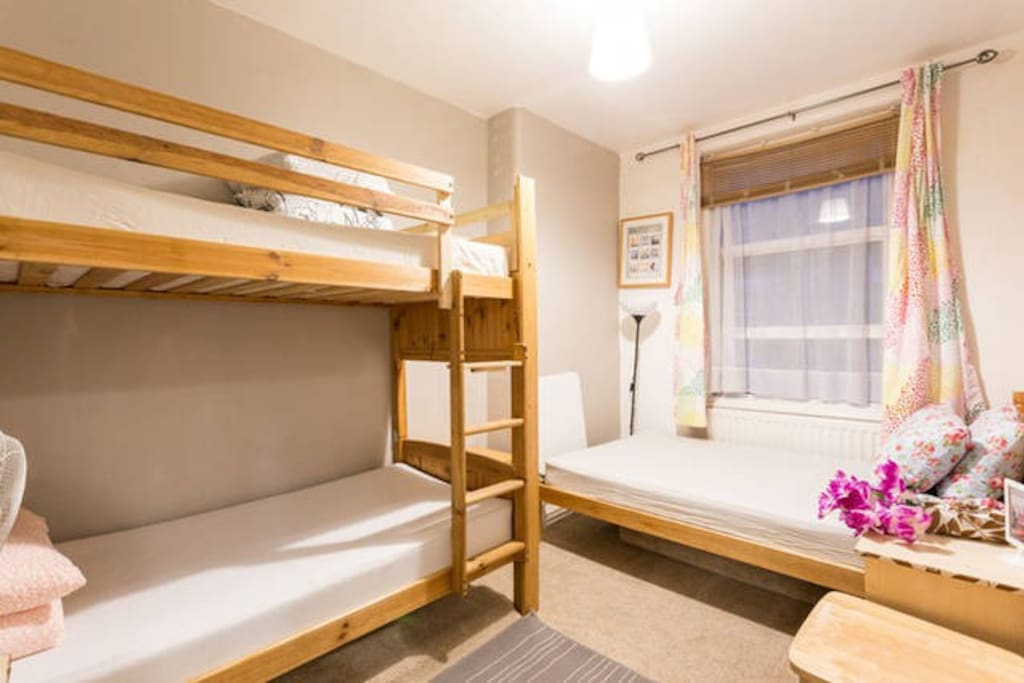 Double bed and bunk bed for 4