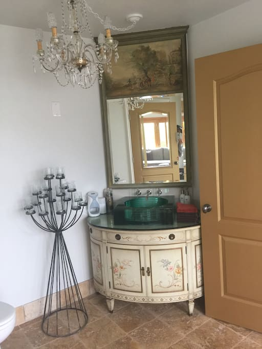 Antique vanity area.