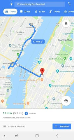 Google Maps distance to Time Square NYC.