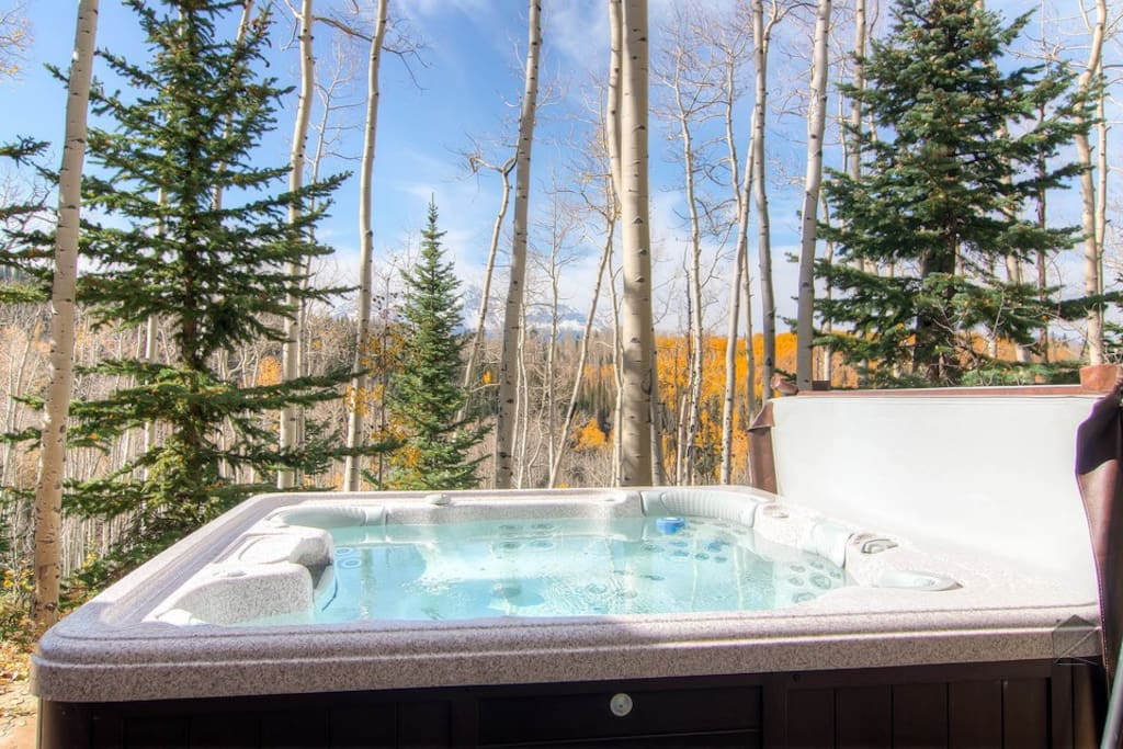 Enjoy a soak with amazing views in your private hot tub.