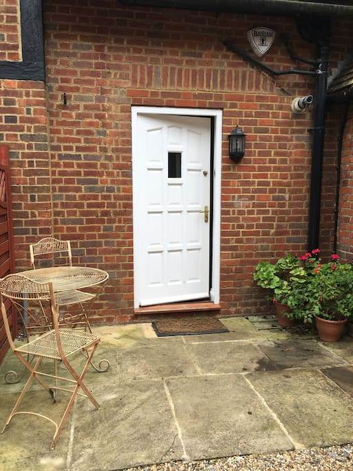 The main door and private entrance to the cottage.