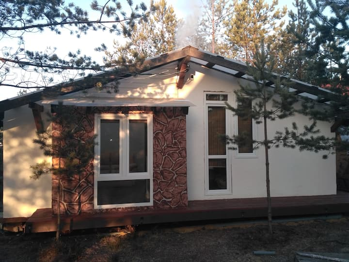 Бунгало с сауной в соснах  bungalow in forest