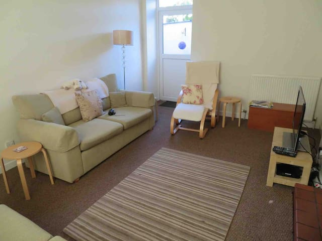 Lounge with courtyard entrance, TV with Nintendo Wi, free view box and DVD player.