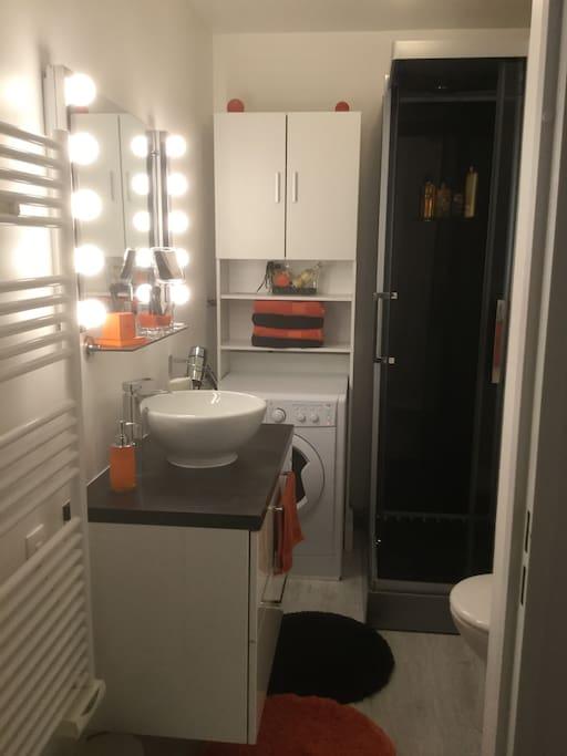 La salle de bain est équipée de produits gel douche et shampooing qui seront mis à votre disposition - d'un sèche cheveux - et de serviette de toilette.