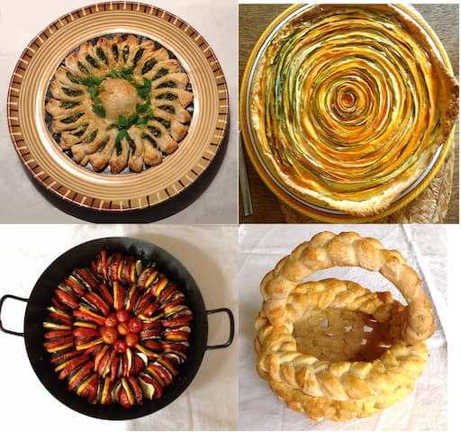 Sample dishes: spinach pithivier; courgette and carrot tart; tian of summer vegetables; bread basket