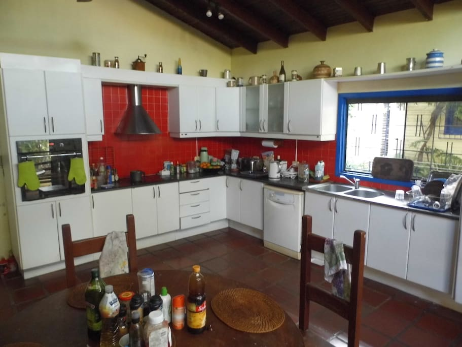 Communal kitchen with fridges, freezers and dishwasher