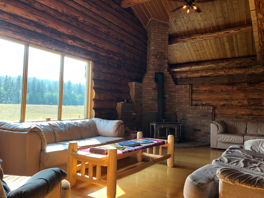 Main living room with wood stove.