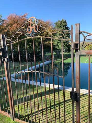 Iron gates to swimming pool