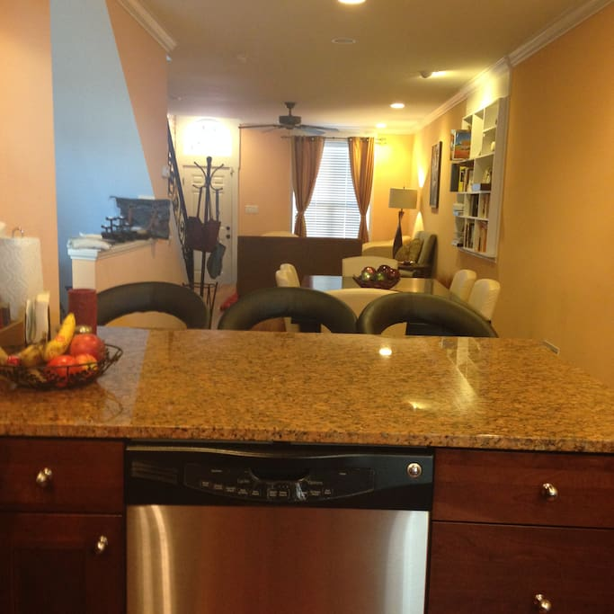 Kitchen counter with bar stools