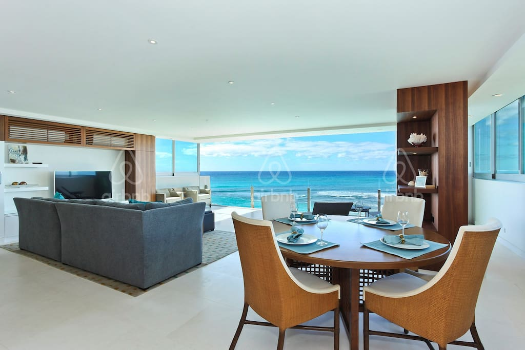 Ocean views from dining area and living room