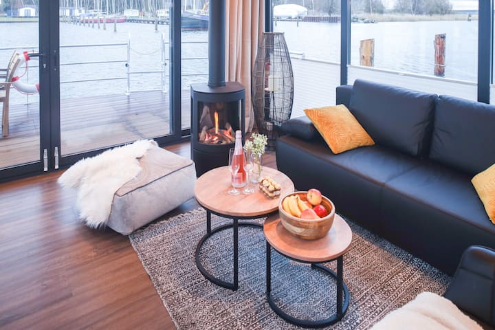 Private 5 ★ houseboat in the harbor ★ WLAN parking