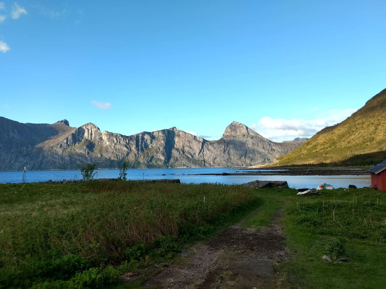View from our house. Segla mountain and Mefjorden.
