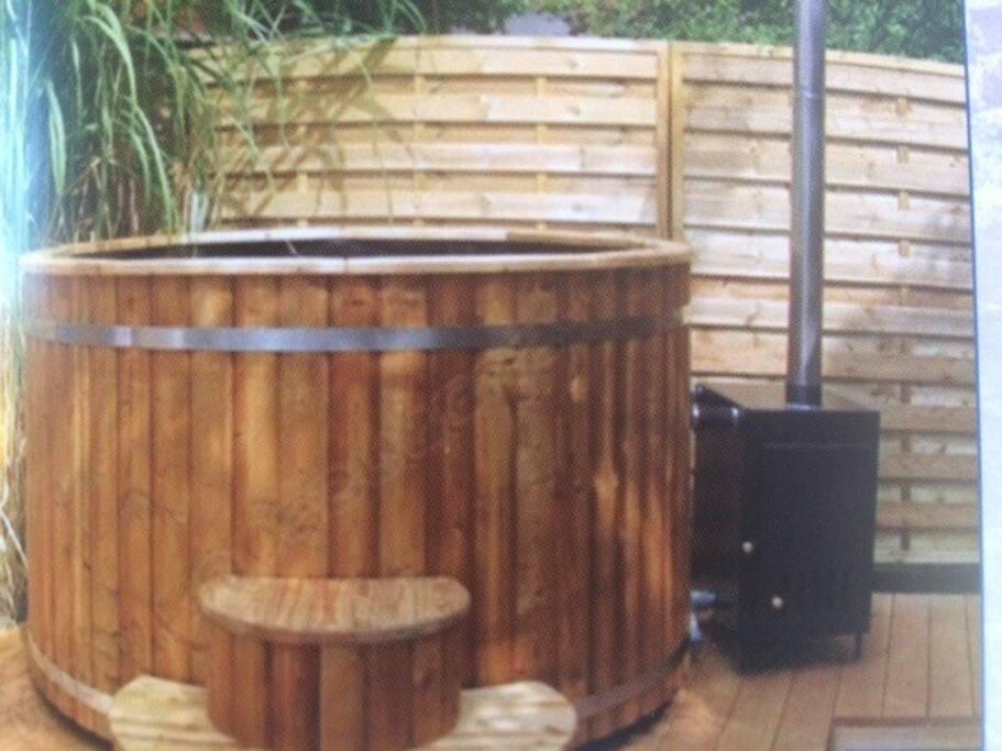 bain nordique chauffé au feu de bois