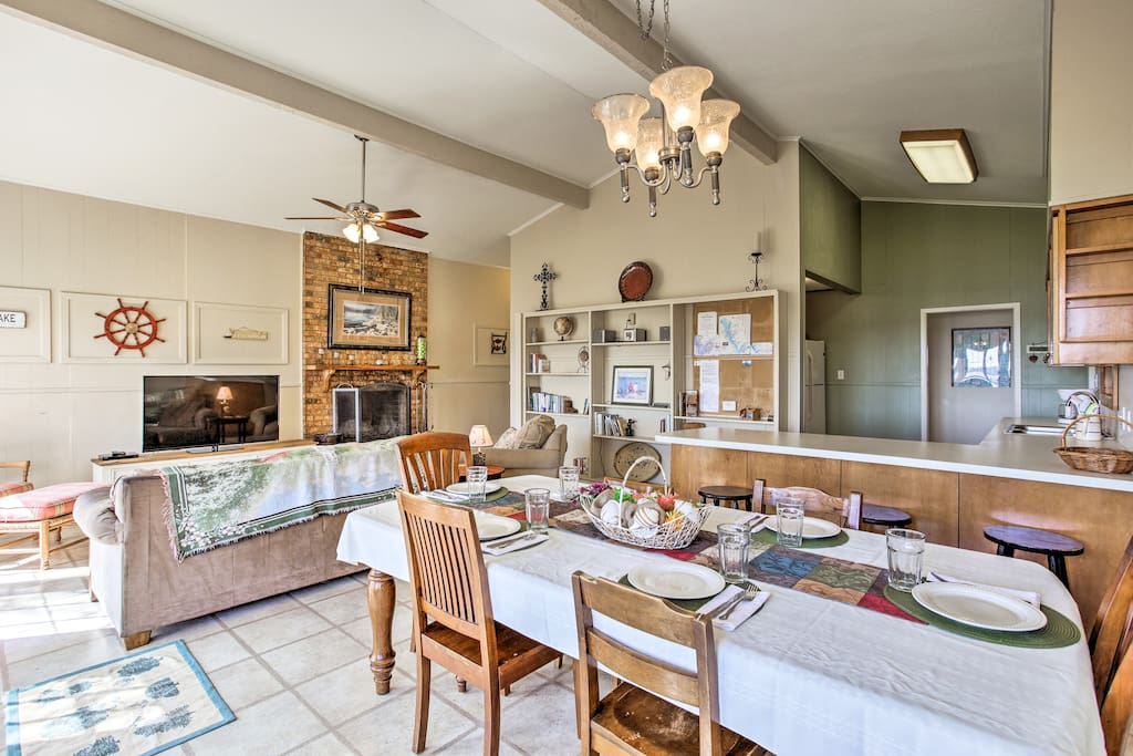 Escape the Texas heat under the living room's cathedral ceilings.