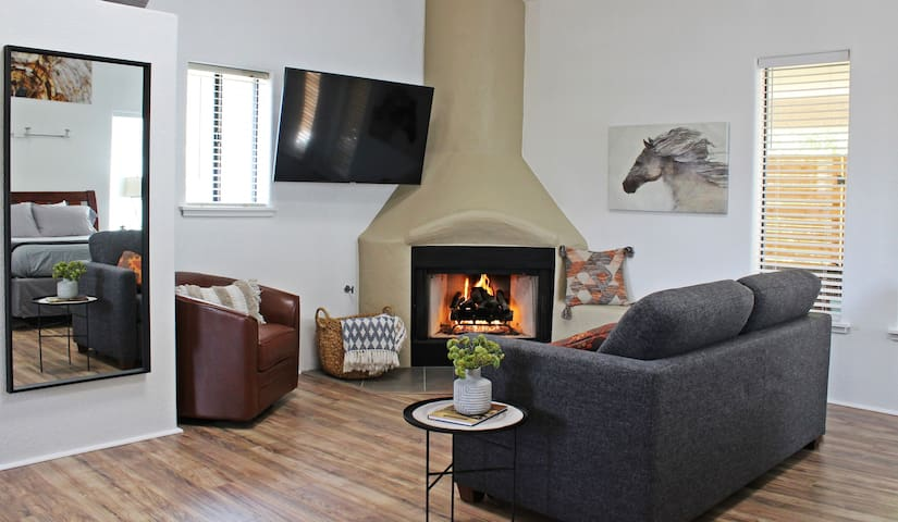 The cozy gas kiva fireplace.  We supply a selection of books, games, movies, and cable tv.