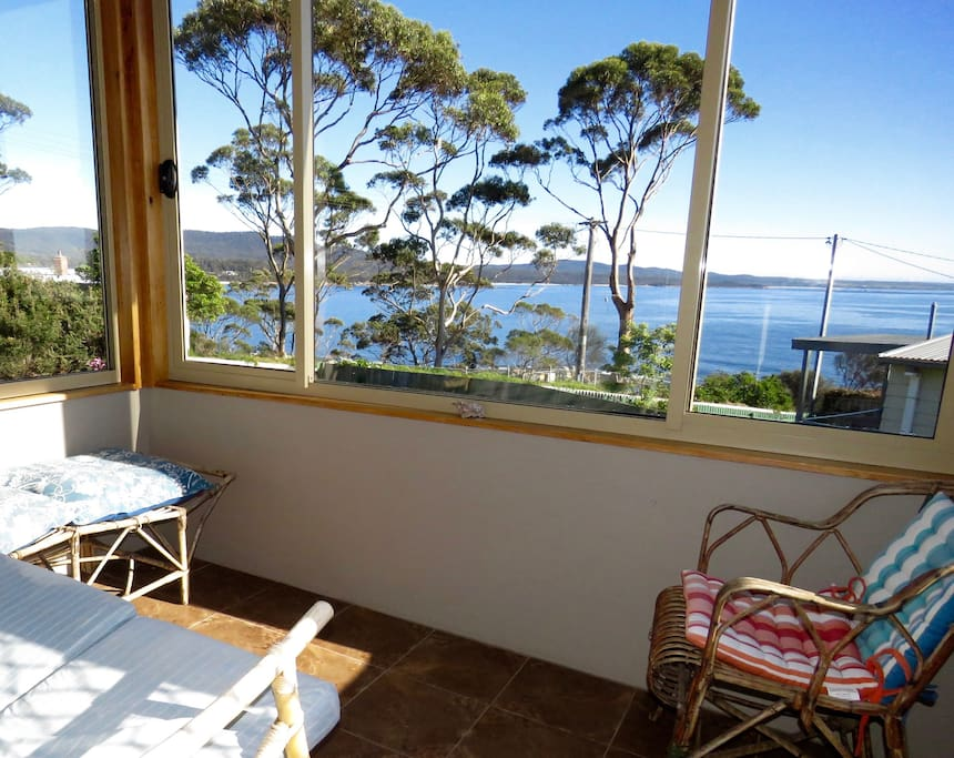 The Sunroom really is a place for basking   & gazing out at the Bay of Fires.
