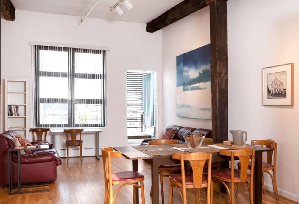 Dining and living room areas, looking toward deck doorway