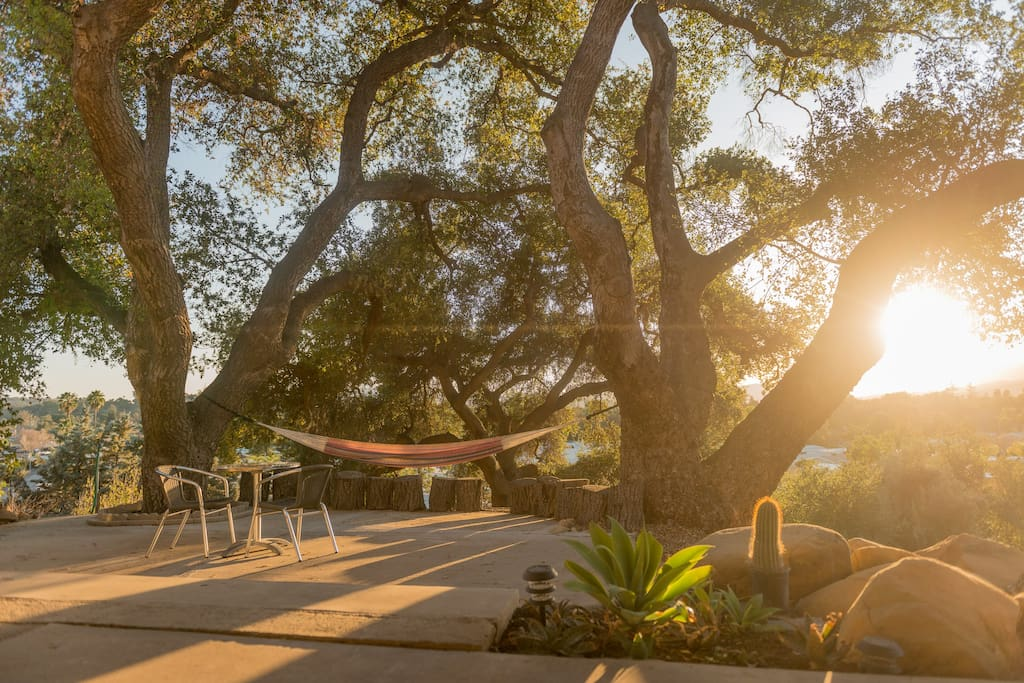 Private patio, with massive live oak trees providing shade,  ambiance - and perfect sunsets from the hammock.