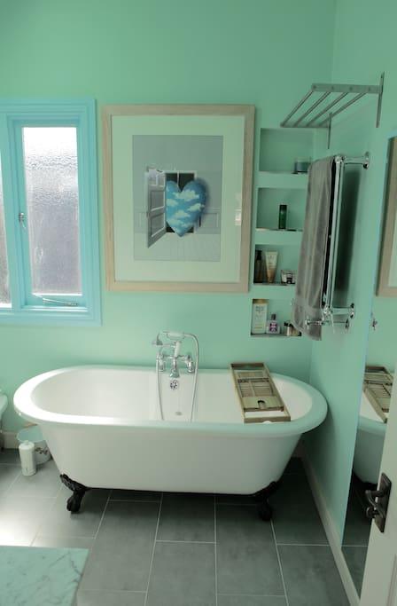 Spa style bath tub