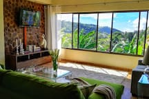 living room with view into the Boquete Valley