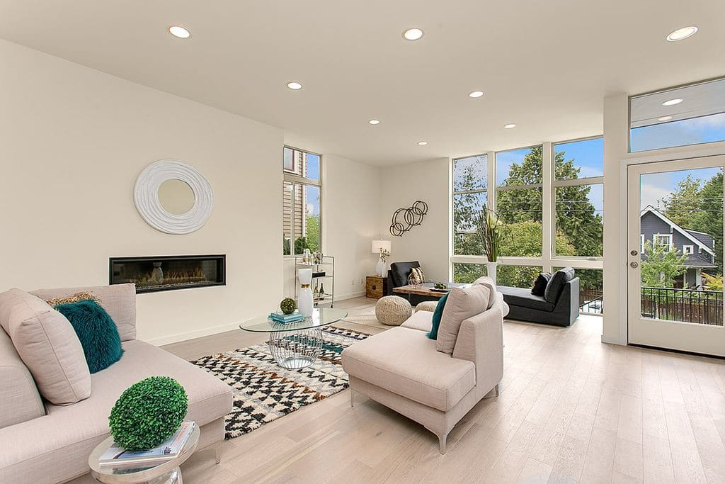 Gas fireplace and giant windows!