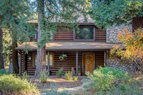 Beautiful Log Cabin in private Redwood grove!