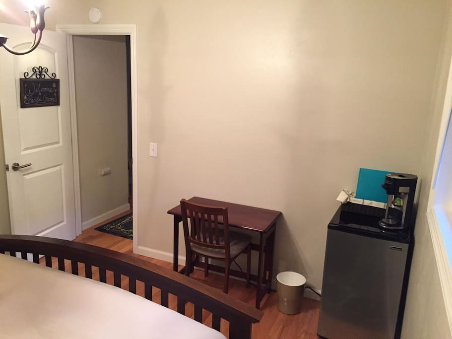 Room comes equipped with mini-fridge, coffee/hot water maker, desk, air mattress, and space heater.