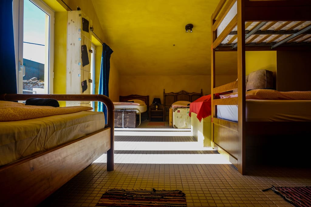 The 8-bed dorm has 2 bunk beds and 4 single beds.