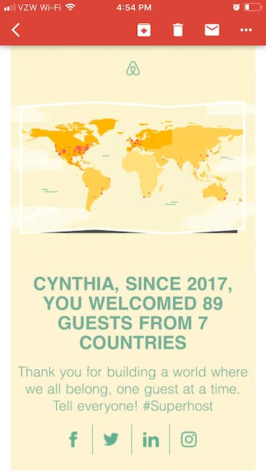 #SUPERHOST ...Airbnb has honored me with being a Superhost two years in a row... hosting 89 guests from 7 countries.