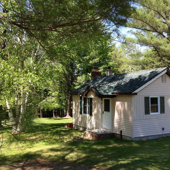 The cabin property extends across lush lawns, into the forest, and down to the Ausable River.